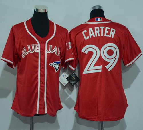 Blue Jays #29 Joe Carter Red Women's Canada Day Stitched MLB Jersey