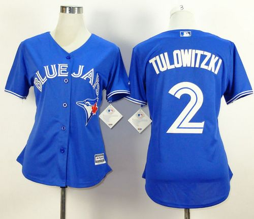 Blue Jays #2 Troy Tulowitzki Blue Alternate Women's Stitched MLB Jersey