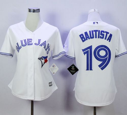 Blue Jays #19 Jose Bautista White Women's Fashion Stitched MLB Jersey