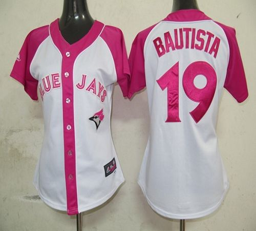 Blue Jays #19 Jose Bautista White/Pink Women's Splash Fashion Stitched MLB Jersey