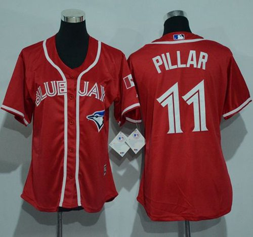 Blue Jays #11 Kevin Pillar Red Canada Day Women's Stitched MLB Jersey
