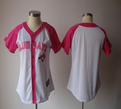 Blue Jays Blank White/Pink Women's Splash Fashion Stitched MLB Jersey