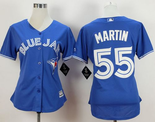 Blue Jays #55 Russell Martin Blue Alternate Women's Stitched MLB Jersey