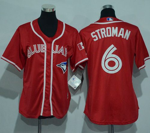 Blue Jays #6 Marcus Stroman Red Canada Day Women's Stitched MLB Jersey