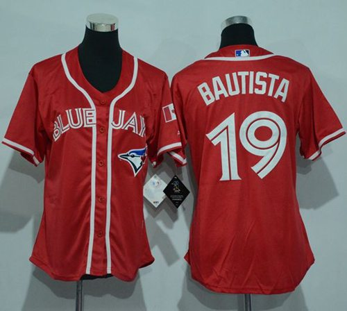 Blue Jays #19 Jose Bautista Red Canada Day Women's Stitched MLB Jersey