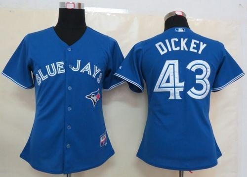 Blue Jays #43 R.A. Dickey Blue Women's Fashion Stitched MLB Jersey