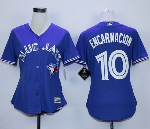 Blue Jays #10 Edwin Encarnacion Blue Alternate Women's Stitched MLB Jersey