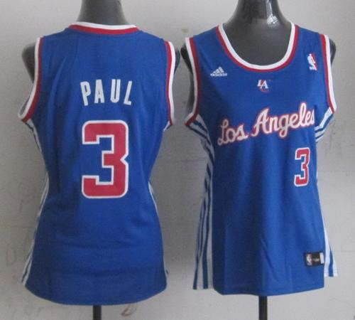 Clippers #3 Chris Paul Blue Women Fashion Stitched NBA Jersey