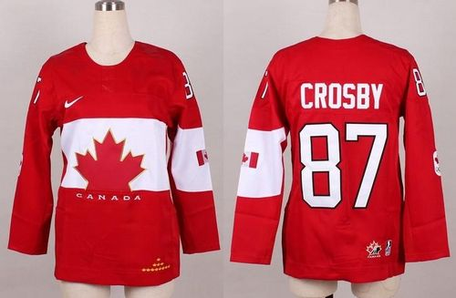 Olympic 2014 CA. #87 Sidney Crosby Red Women's Stitched NHL Jersey