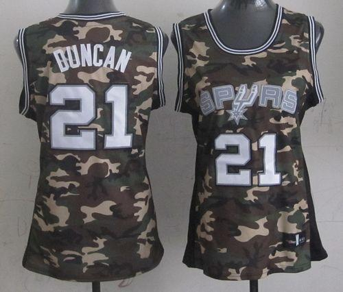 Spurs #21 Tim Duncan Camo Women's Stealth Collection Stitched NBA Jersey