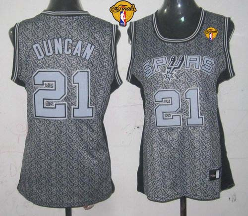 Spurs #21 Tim Duncan Grey With Finals Patch Women's Static Fashion Stitched NBA Jersey