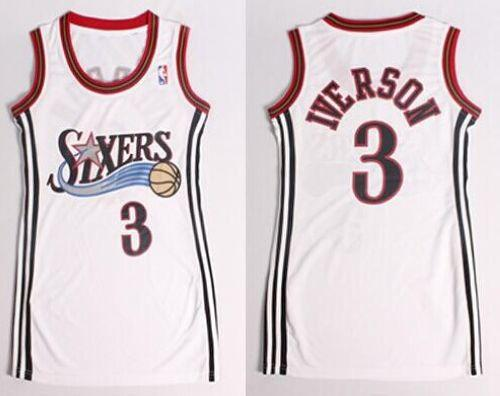 76ers #3 Allen Iverson White Women's Dress Stitched NBA Jersey
