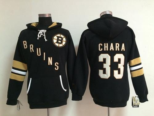 Boston Bruins #33 Zdeno Chara Black Women's Old Time Heidi NHL Hoodie