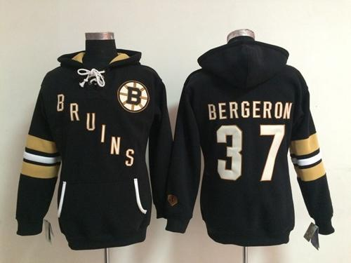 Boston Bruins #37 Patrice Bergeron Black Women's Old Time Heidi NHL Hoodie