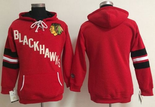 Chicago Blackhawks Blank Red Women's Old Time Heidi NHL Hoodie
