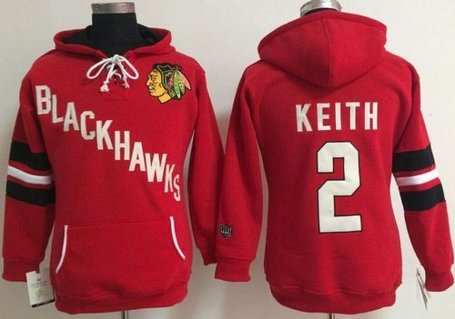 Chicago Blackhawks #2 Duncan Keith Red Women's Old Time Heidi NHL Hoodie