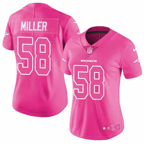 Women's Nike Denver Broncos #58 Von Miller Pink Stitched NFL Limited Rush Fashion Jersey