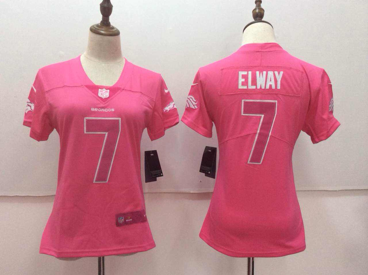 Women's Nike Denver Broncos #7 John Elway Pink Limited Rush Fashion Stitched NFL Jersey