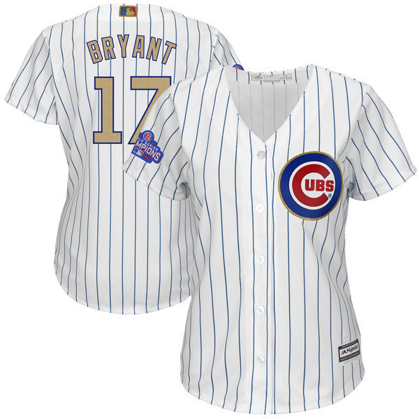 Women's Chicago Cubs #17 Kris Bryant Majestic White 2017 Gold Program Player Stitched MLB Jersey