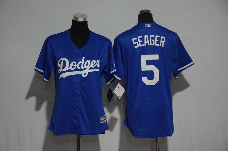 Women's Los Angeles Dodgers #5 Corey Seager Majestic Royal Cool Base Player Stitched MLB Jersey