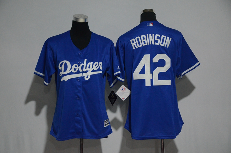Women's Los Angeles Dodgers #42 Jackie Robinson Majestic Royal Cool Base Player Stitched MLB Jersey