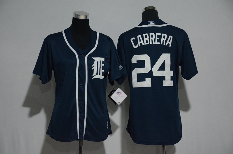 Women's Detroit Tigers #24 Miguel Cabrera Majestic Fashion Navy Cool Base Player Stitched MLB Jersey