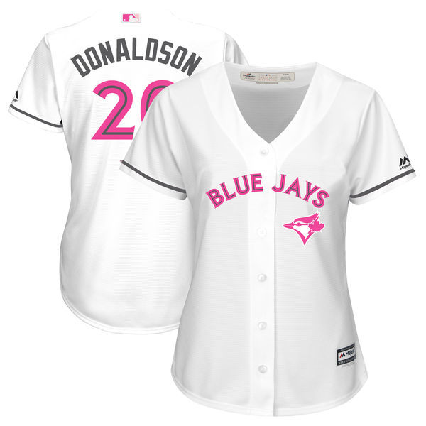Women's New Toronto Blue Jays #20 Josh Donaldson Majestic White Mother's Day Cool Base Stitched MLB Jersey
