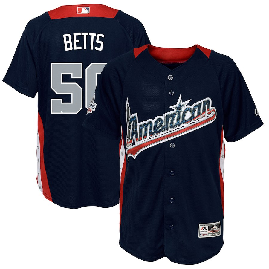 Youth American League Mookie Betts Navy 2018 MLB All-Star Game Home Run Derby Player Jersey