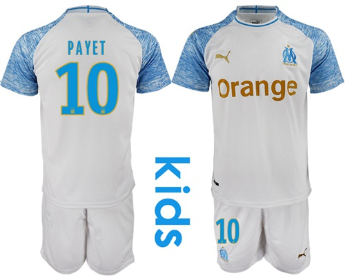 Marseille #10 Payet Home Kid Soccer Club Jersey