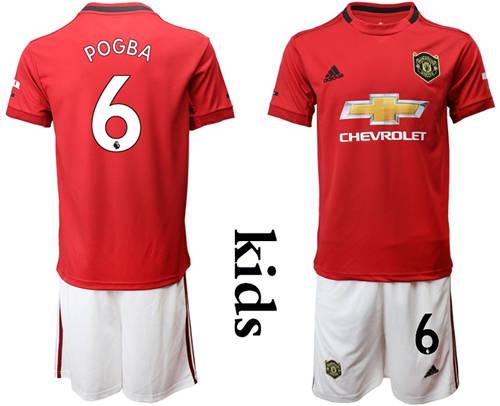 Manchester United #6 Pogba Home Kid Soccer Club Jersey