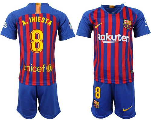 Barcelona #8 A.Iniesta Home Kid Soccer Club Jersey