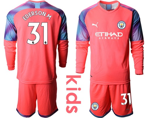 Manchester City #31 Ederson M. Pink Goalkeeper Long Sleeves Kid Soccer Club Jersey