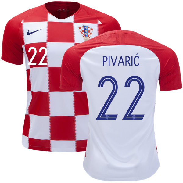 Croatia #22 Pivaric Home Kid Soccer Country Jersey