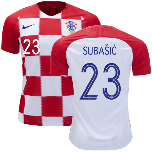 Croatia #23 Subasic Home Kid Soccer Country Jersey