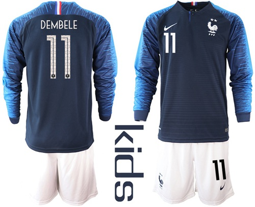 France #11 Dembele Home Long Sleeves Kid Soccer Country Jersey