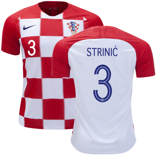 Croatia #3 Strinic Home Kid Soccer Country Jersey