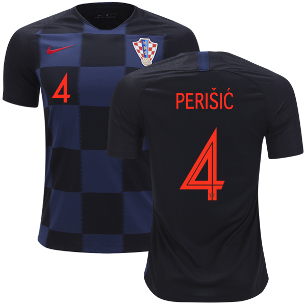 Croatia #4 Perisic Away Kid Soccer Country Jersey