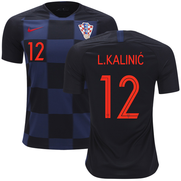 Croatia #12 L.Kalinic Away Kid Soccer Country Jersey