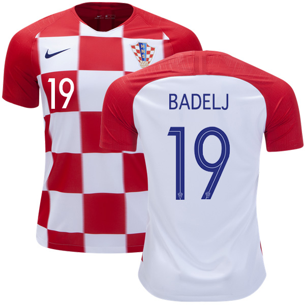 Croatia #19 Badelj Home Kid Soccer Country Jersey