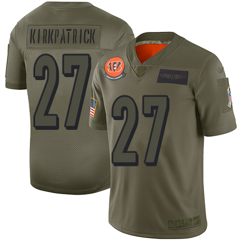 Nike Bengals #27 Dre Kirkpatrick Camo Youth Stitched NFL Limited 2019 Salute to Service Jersey