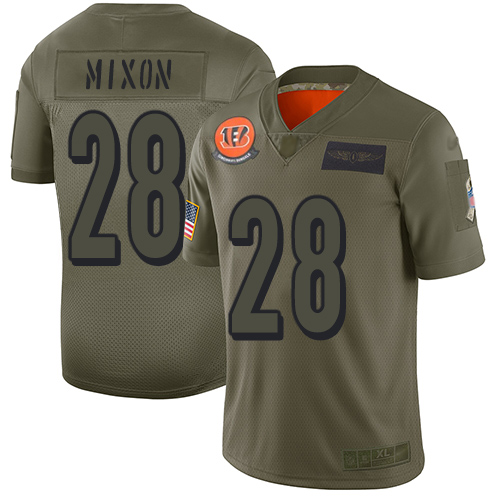 Nike Bengals #28 Joe Mixon Camo Youth Stitched NFL Limited 2019 Salute to Service Jersey