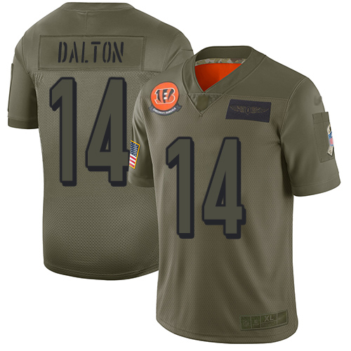 Nike Bengals #14 Andy Dalton Camo Youth Stitched NFL Limited 2019 Salute to Service Jersey