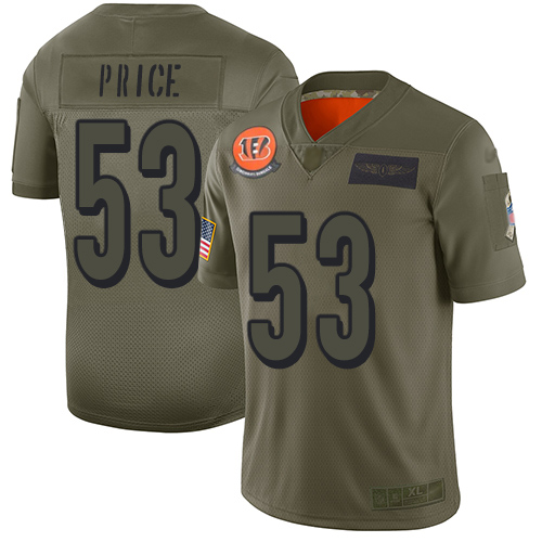 Nike Bengals #53 Billy Price Camo Youth Stitched NFL Limited 2019 Salute to Service Jersey