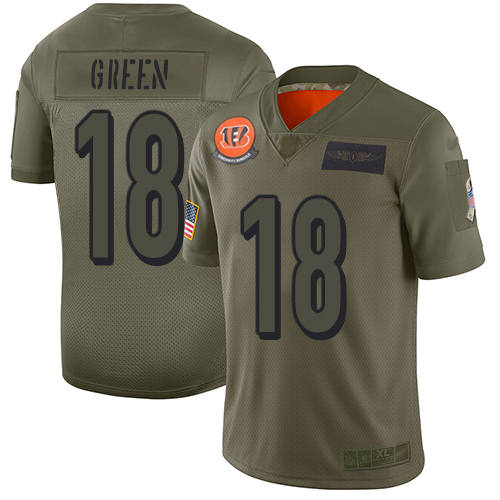 Nike Bengals #18 A.J. Green Camo Youth Stitched NFL Limited 2019 Salute to Service Jersey