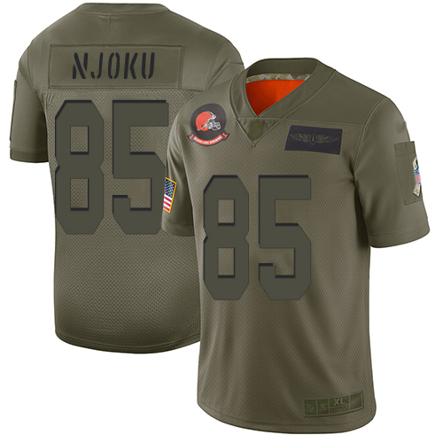 Nike Browns #85 David Njoku Camo Youth Stitched NFL Limited 2019 Salute to Service Jersey