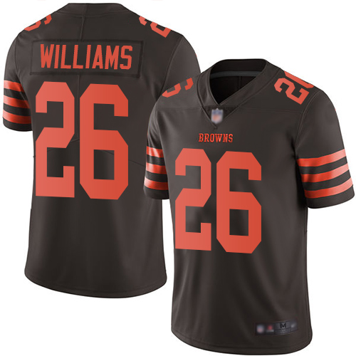 Nike Browns #26 Greedy Williams Brown Youth Stitched NFL Limited Rush Jersey