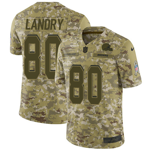 Nike Browns #80 Jarvis Landry Camo Youth Stitched NFL Limited 2018 Salute to Service Jersey