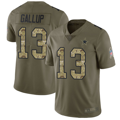 Nike Cowboys #13 Michael Gallup Olive/Camo Youth Stitched NFL Limited 2017 Salute to Service Jersey
