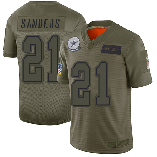 Nike Cowboys #21 Deion Sanders Camo Youth Stitched NFL Limited 2019 Salute to Service Jersey
