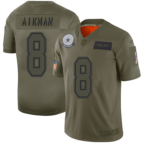 Nike Cowboys #8 Troy Aikman Camo Youth Stitched NFL Limited 2019 Salute to Service Jersey